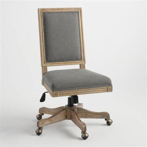 world market desk chair charcoal gray linen paige square back office chair world