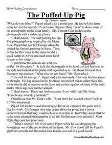 fifth grade reading comprehension worksheet the puffed
