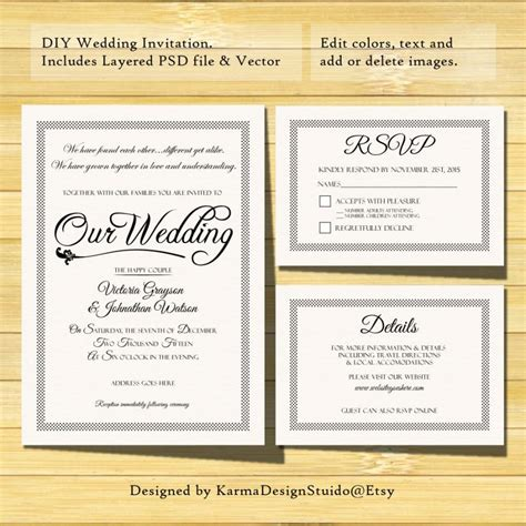 detaild wedding card template wedding invitation template instant printable