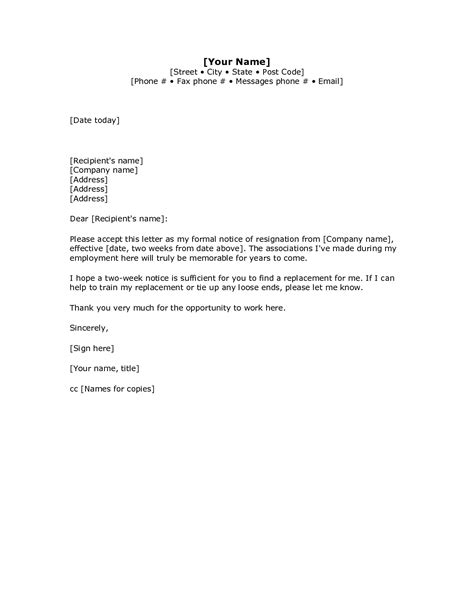 2 weeks notice template word two weeks notice letter
