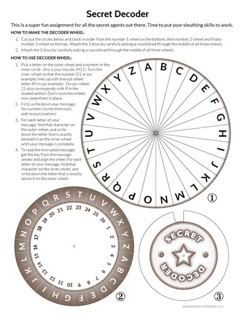 Printable Secret Decoder Wheel   Dabbles & Babbles