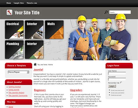 home repair free joomla 1 6 template from themza
