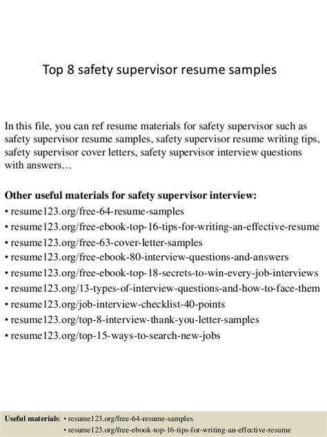 Infant Toddler Specialist Cover Letter by Top 8 Safety Supervisor Resume Sles