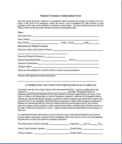authorization letter for treatment of minor authorization for minor s treatment forms