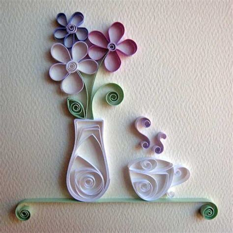 Paper Craft Patterns - you to see quilling tea cup and vase by cecelia louie