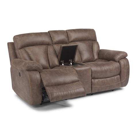 Reclining Seat With Console by Flexsteel 1208 604p Shannon Fabric Power Reclining