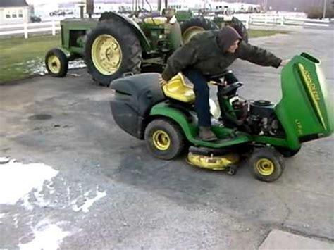 john deere ltr180 lawn mower with bagger youtube