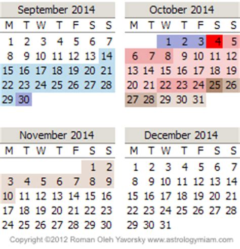 printable calendar 2014 october november december 2014 mercury retrograde calendar