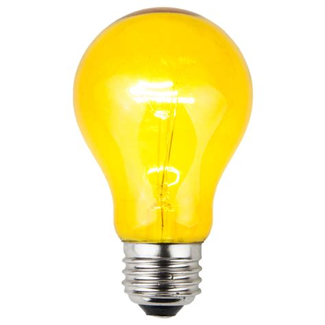 light bulb e26 and sign bulbs a19 transparent yellow 25 watt