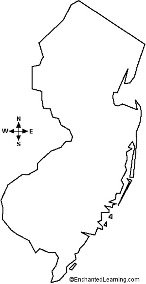 New Jersey State Map Outline by Outline Map New Jersey Enchantedlearning
