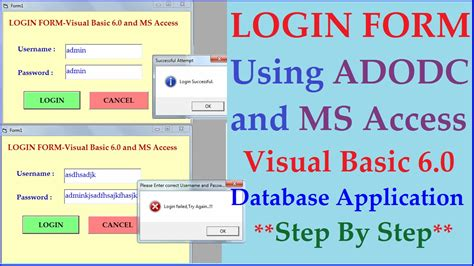 Login Form Using Visual Basics 6 0 Adodc And Ms Access Database Step By Step Tutorial Youtube Microsoft Access Login Form Database Template