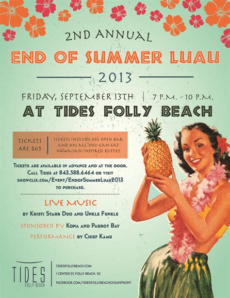 The End Of Summer 2013 Tickets For End Of Summer Luau 2013 In Folly Beach From Showclix