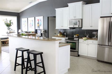 Charcoal Painted Kitchen Cabinets by Kitchen With White Cabinets And Kendall Charcoal Gray