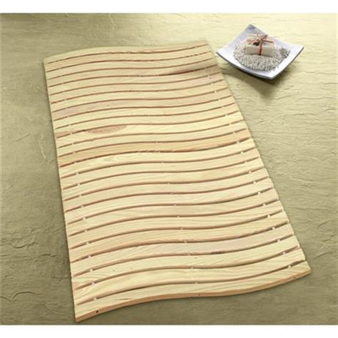 kleine wolke wave wood bath mat 600 x 800mm nature