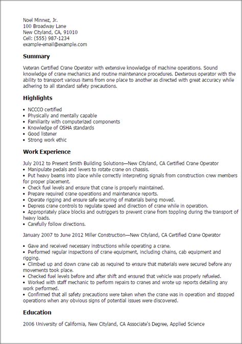 Crane Operator Cover Letter by Professional Certified Crane Operator Templates To Showcase Your Talent Myperfectresume