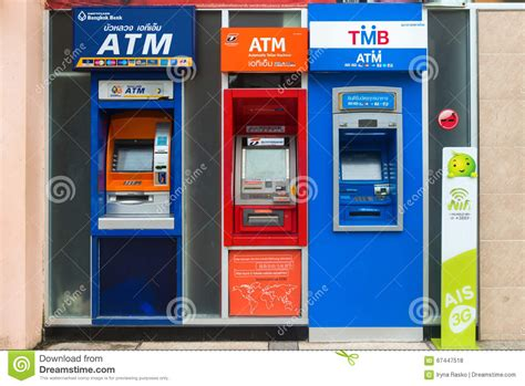 bangkok bank atm row of atm machines in thailand editorial stock photo