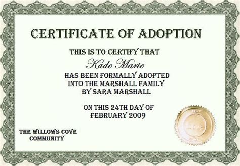 child adoption certificate template child simon says