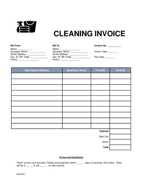 house cleaning invoice template free free cleaning housekeeping invoice template word pdf eforms free fillable forms