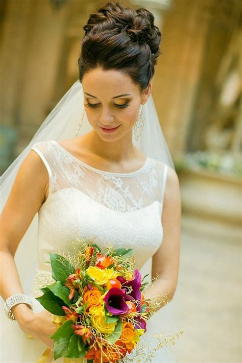 Bridal Hairstyles For Length Hair With Veil by Wedding Hairstyle For Medium Hair