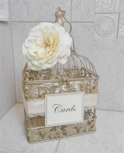 Small Champagne Gold Wedding Birdcage Card Holder