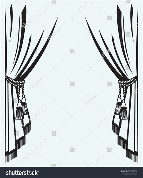 silhouette curtains silhouette curtain isolated on blue background stock