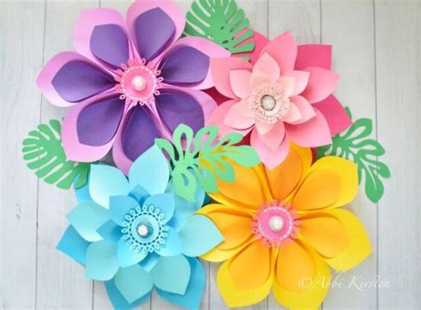 How To Make Hawaiian Paper Flowers - hawaiian paper flower templates tutorial paper flower