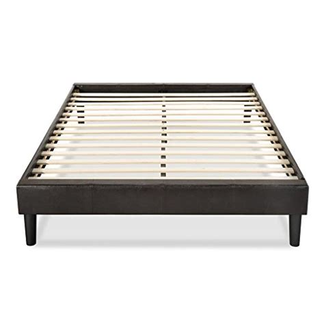 Wood Bed Frame Supports Essential Faux Leather Platform Bed Frame Mattress Foundation No Boxspring Needed Wooden Slat