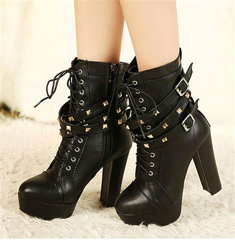 new synthetic leather high heels boots rivet studded