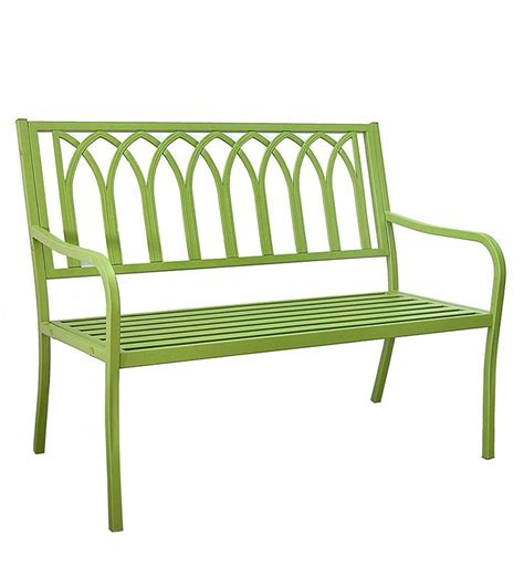 green metal garden bench green hand welded steel cathedral back outdoor garden