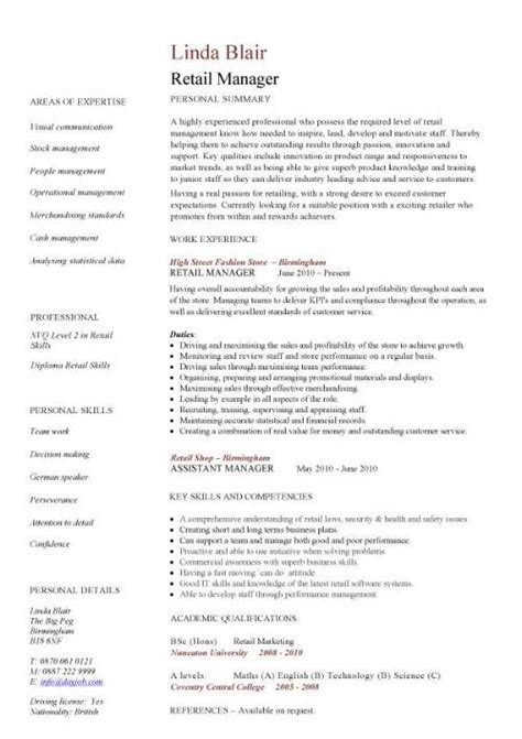 Retail Manager Resume Exles And Sles by Retail Manager Cv Template Resume Exles Description