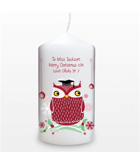 personalised christmas candle owl just for gifts
