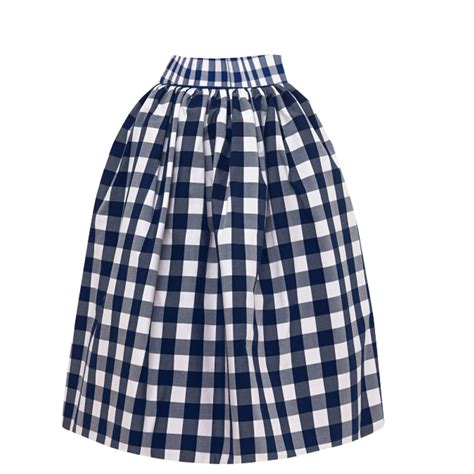 blue and white high waist checked gather skirt elizabeth