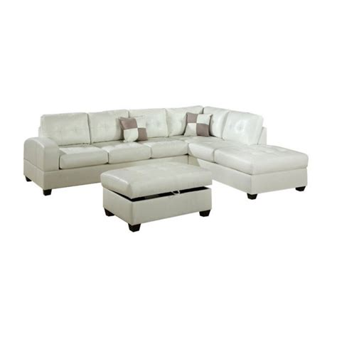 poundex bobkona athena bonded leather sectional sofa in