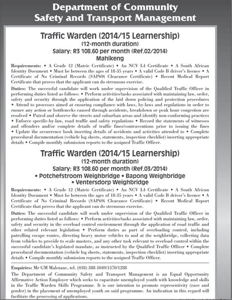 Sa Learnerships 2015 To 2016 | learnerships 2014 2015 traffic department south africa