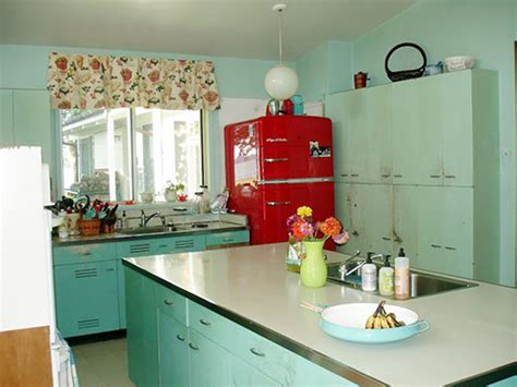 nancy s metal kitchen cabinets get a fresh coat of paint and lots of new red accents retro