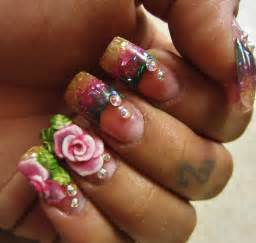 Rose lover glitter acrylic nails 3d nail art youtube