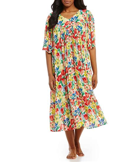 go softly plus tulip print crinkled patio dress dillards