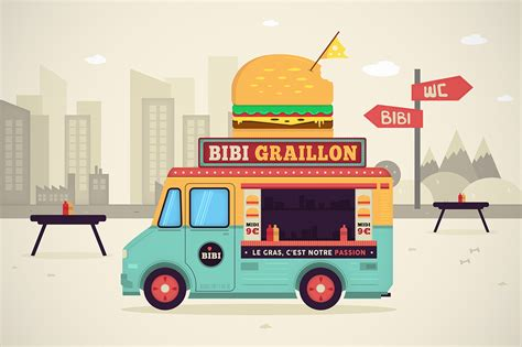 food truck design illustrator food truck vector illustration motion design on behance