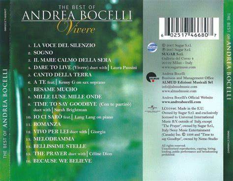 the best of andrea bocelli andrea bocelli the best of andrea bocelli vivere 2007