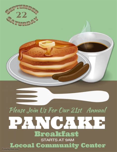 Pancake Breakfast Template Postermywall Breakfast Flyer Template