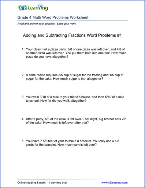 Grade 4 Math Problem Solving Worksheets by 4th Grade Word Problem Worksheets Printable K5 Learning