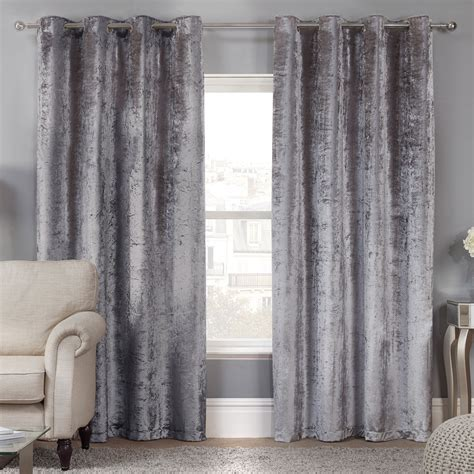 velvet eyelet curtains elegance allure silver crushed velvet luxury eyelet