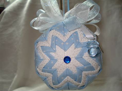 Handmade Baby Ornaments - handmade quilted ornament baby boy with blue binky it s