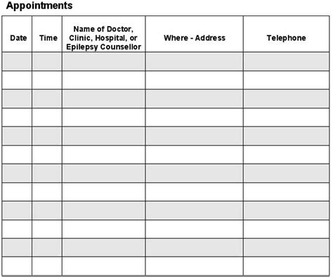 appointment log template free printable daily appointment sheets calendar