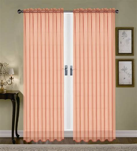 peach kitchen curtains product monique sheer rod pocket curtain peach