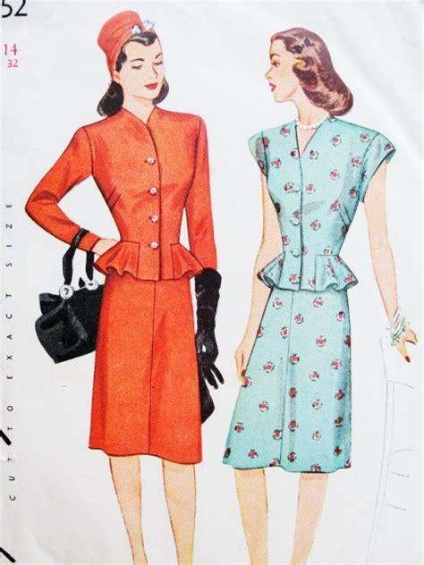 pattern peplum dress 1940s lovely 2 pc peplum dress pattern simplicity 1252