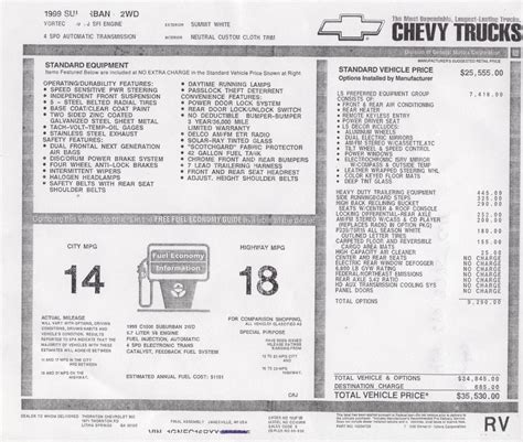 Chevrolet Vin Lookup Window Sticker