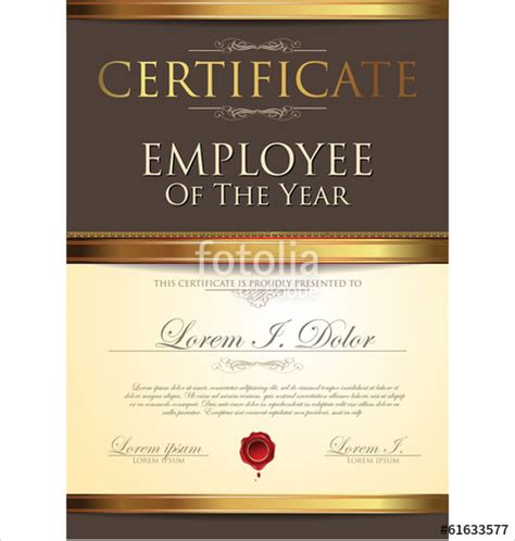 quot certificate template employee of the year quot stock image