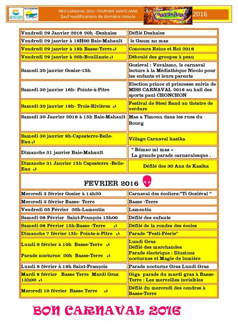 Calendrier 2018 Guadeloupe Carnaval Guadeloupe 2016