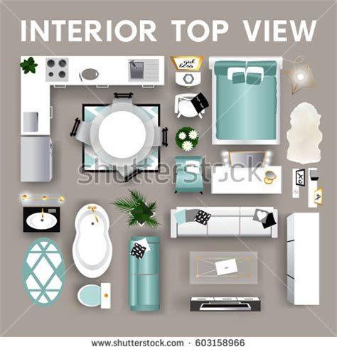 Home Design Elements Reviews by Set Top View Interior Modern Interior Stock Vector